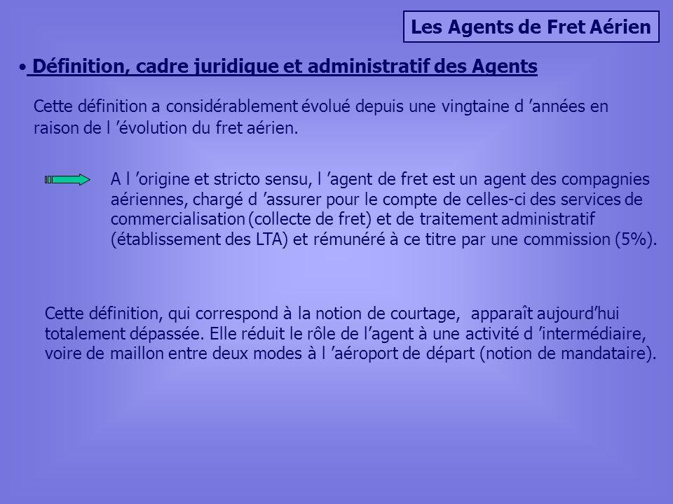 Les Agents de Fret Aérien Définition, cadre juridique et administratif des Agents Cette définition a considérablement évolué depuis une vingtaine d années en raison de l évolution du fret aérien.