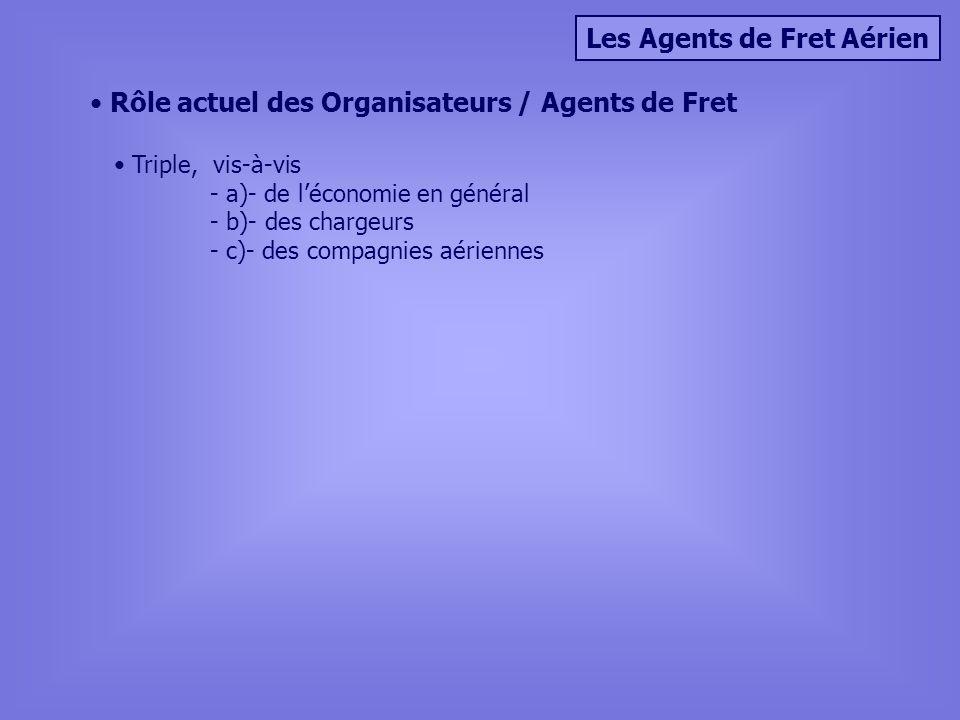 Les Agents de Fret Aérien Rôle actuel des Organisateurs / Agents de Fret Triple, vis-à-vis - a)- de léconomie en général - b)- des chargeurs - c)- des compagnies aériennes