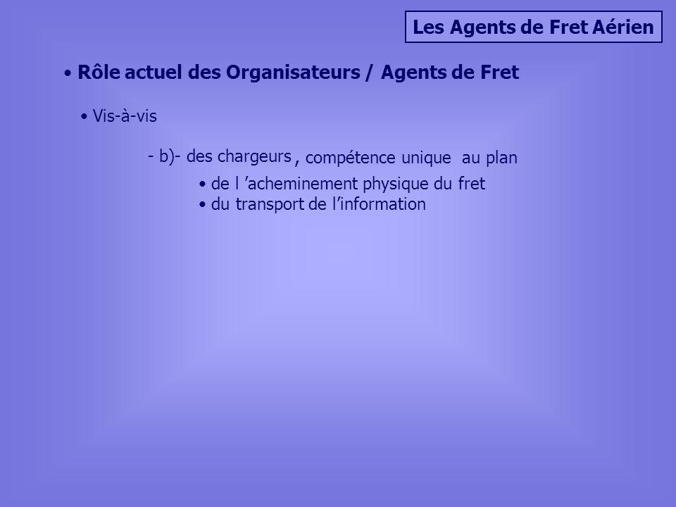 Les Agents de Fret Aérien Rôle actuel des Organisateurs / Agents de Fret Vis-à-vis - b)- des chargeurs, compétence unique au plan de l acheminement physique du fret du transport de linformation