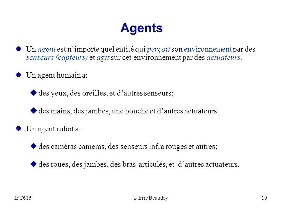 Agents lUn agent est nimporte quel entité qui perçoit son environnement par des senseurs (capteurs) et agit sur cet environnement par des actuateurs.