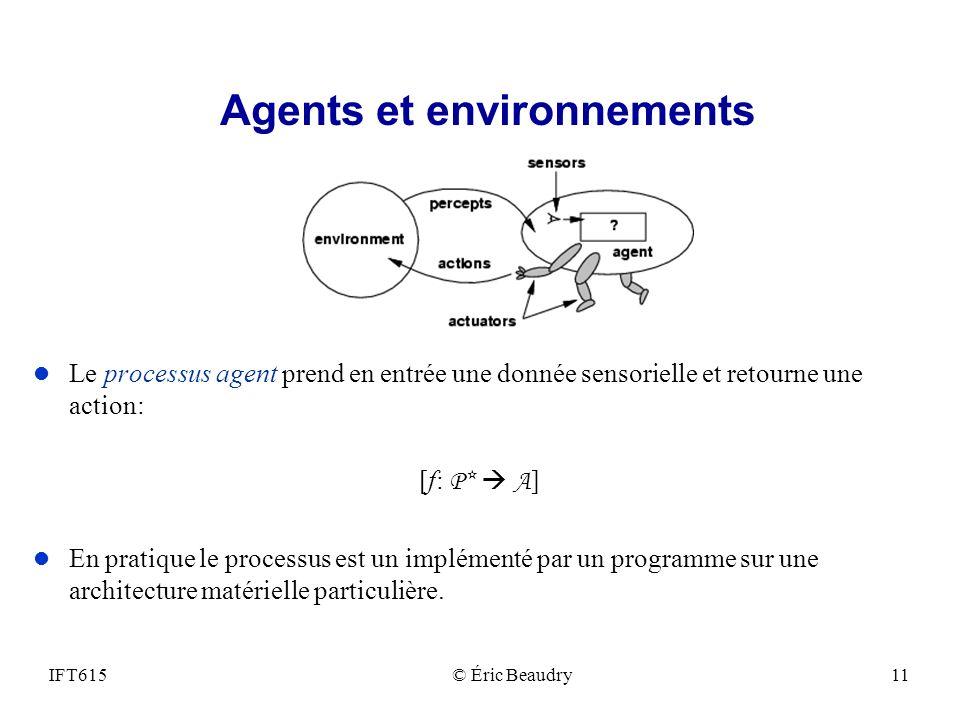 Agents et environnements l Le processus agent prend en entrée une donnée sensorielle et retourne une action: [f: P* A ] l En pratique le processus est