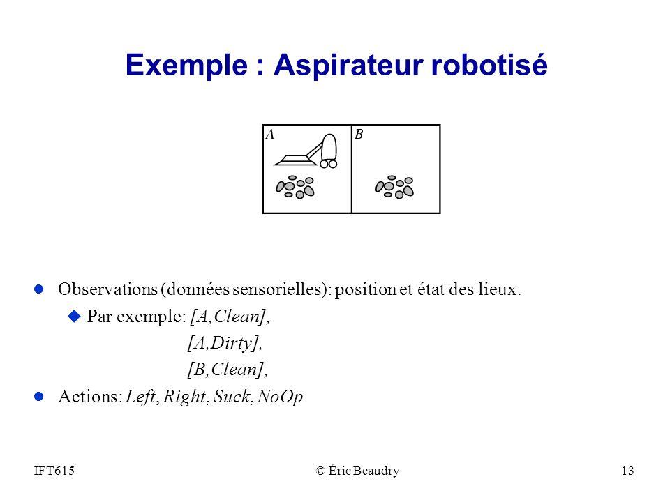 Exemple : Aspirateur robotisé l Observations (données sensorielles): position et état des lieux. u Par exemple: [A,Clean], [A,Dirty], [B,Clean], l Act