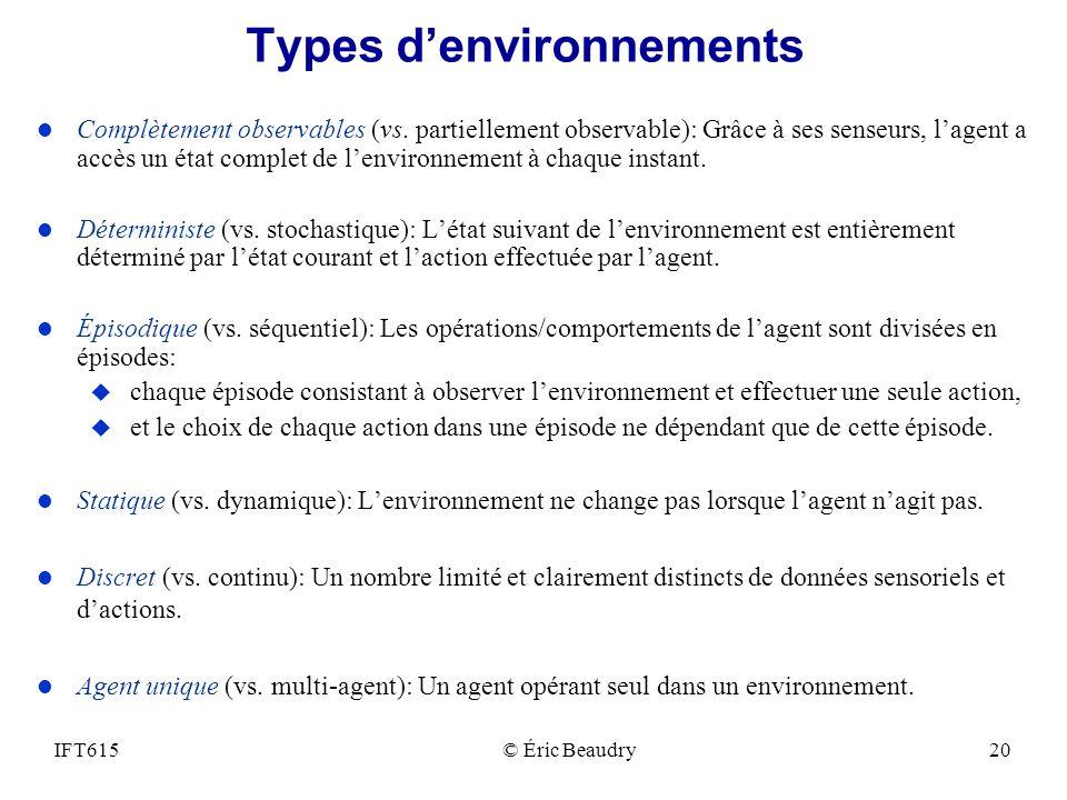 Types denvironnements l Complètement observables (vs. partiellement observable): Grâce à ses senseurs, lagent a accès un état complet de lenvironnemen