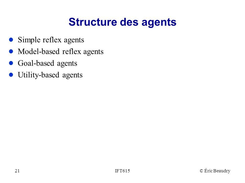 Structure des agents l Simple reflex agents l Model-based reflex agents l Goal-based agents l Utility-based agents IFT615© Éric Beaudry21
