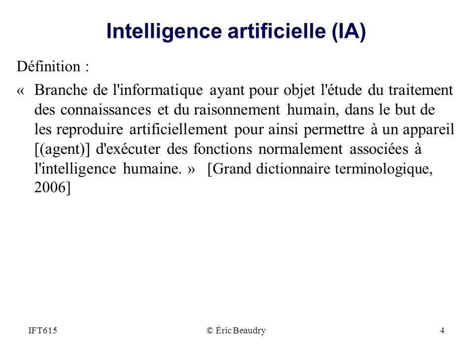 Intelligence artificielle (IA) Définition : « Branche de l'informatique ayant pour objet l'étude du traitement des connaissances et du raisonnement hu