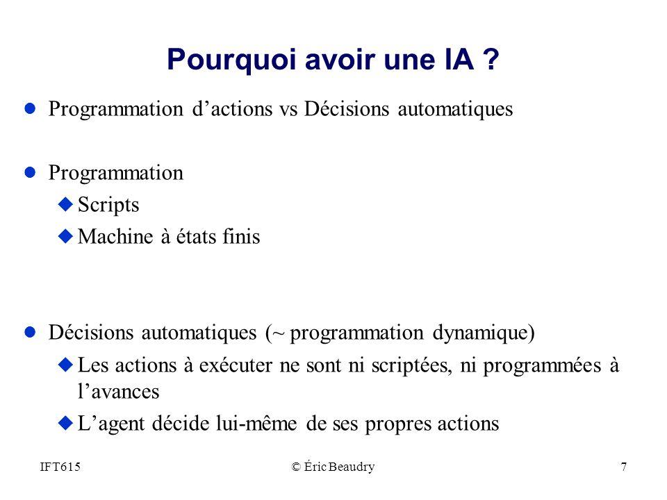 Pourquoi avoir une IA ? l Programmation dactions vs Décisions automatiques l Programmation u Scripts u Machine à états finis l Décisions automatiques