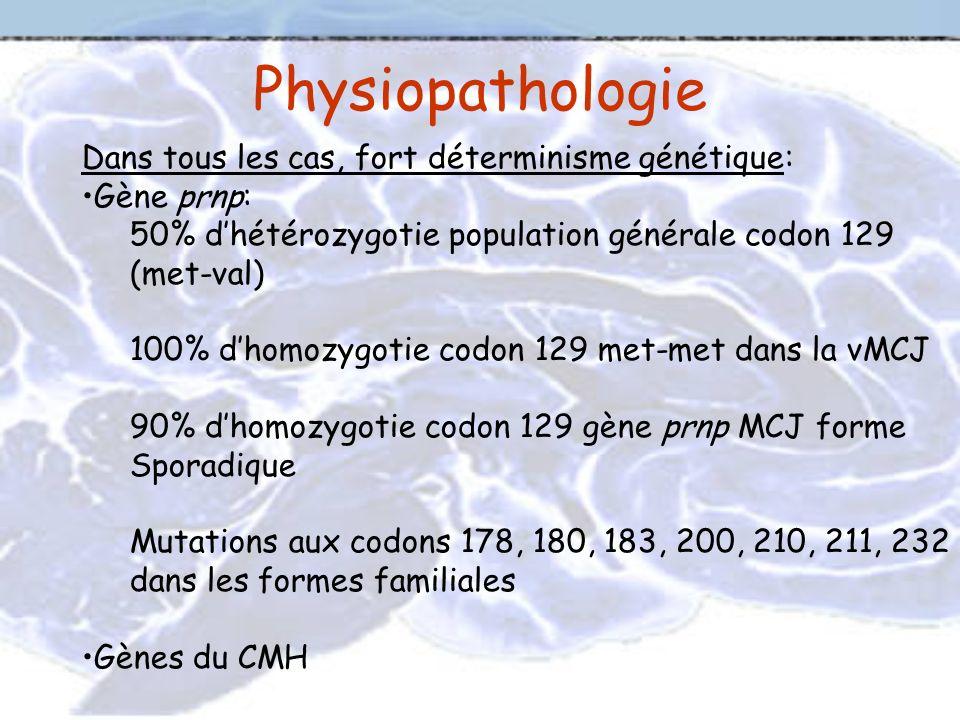 Physiopathologie Dans tous les cas, fort déterminisme génétique: Gène prnp: 50% dhétérozygotie population générale codon 129 (met-val) 100% dhomozygot