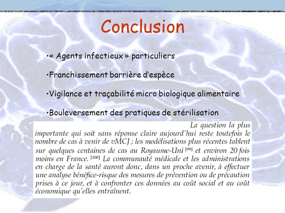 Conclusion « Agents infectieux » particuliers Franchissement barrière despèce Vigilance et traçabilité micro biologique alimentaire Bouleversement des