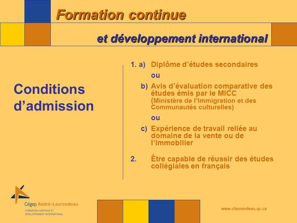 Formation continue et développement international www.claurendeau.qc.ca 1.