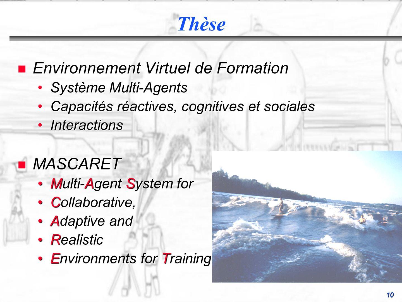 10 n Environnement Virtuel de Formation Système Multi-AgentsSystème Multi-Agents Capacités réactives, cognitives et socialesCapacités réactives, cogni