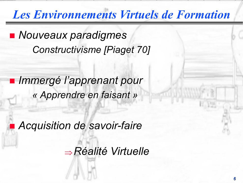 6 n Nouveaux paradigmes Constructivisme [Piaget 70] Constructivisme [Piaget 70] n Immergé lapprenant pour « Apprendre en faisant » « Apprendre en faisant » n Acquisition de savoir-faire Les Environnements Virtuels de Formation Réalité Virtuelle Réalité Virtuelle