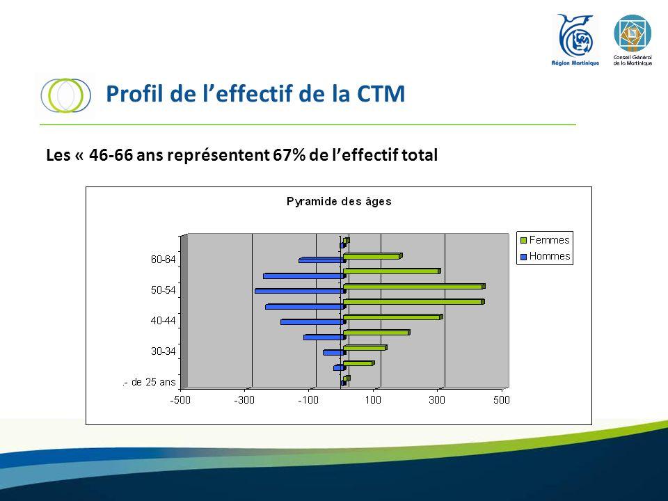 Profil de leffectif de la CTM Les « 46-66 ans représentent 67% de leffectif total