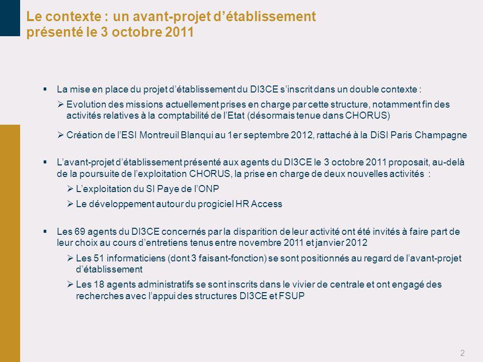 2 Le contexte : un avant-projet détablissement présenté le 3 octobre 2011 La mise en place du projet détablissement du DI3CE sinscrit dans un double c