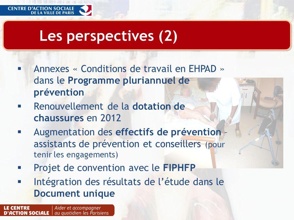 Les perspectives (2) Annexes « Conditions de travail en EHPAD » dans le Programme pluriannuel de prévention Renouvellement de la dotation de chaussure
