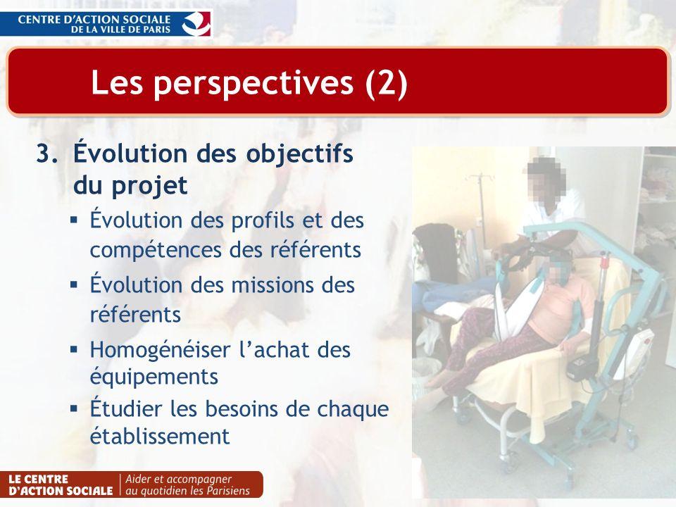 Les perspectives (2) 3.Évolution des objectifs du projet Évolution des profils et des compétences des référents Évolution des missions des référents H