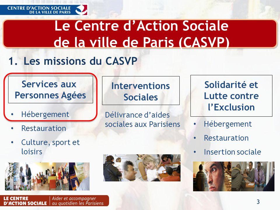 Le Centre dAction Sociale de la ville de Paris (CASVP) 1.Les missions du CASVP 3 Interventions Sociales Solidarité et Lutte contre lExclusion Services