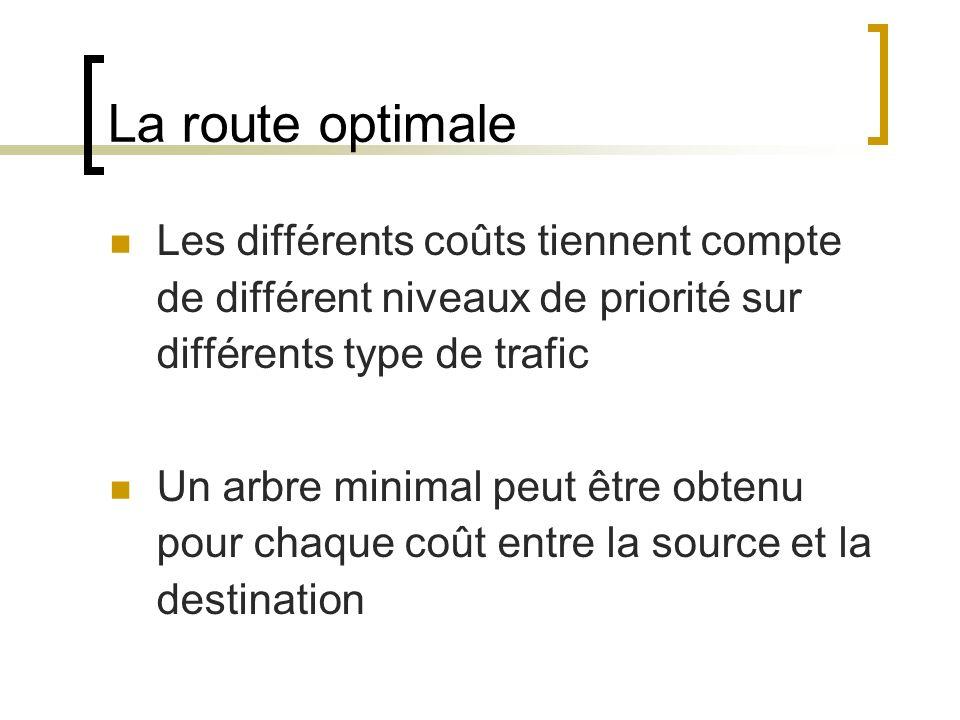 La route optimale Les différents coûts tiennent compte de différent niveaux de priorité sur différents type de trafic Un arbre minimal peut être obtenu pour chaque coût entre la source et la destination