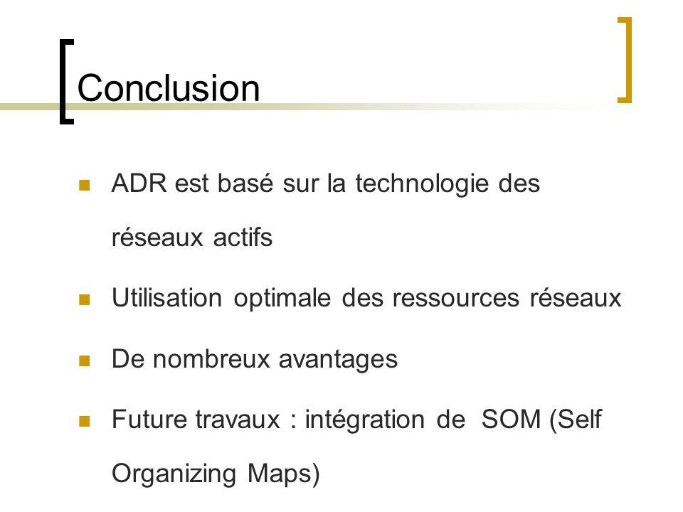 Conclusion ADR est basé sur la technologie des réseaux actifs Utilisation optimale des ressources réseaux De nombreux avantages Future travaux : intégration de SOM (Self Organizing Maps)
