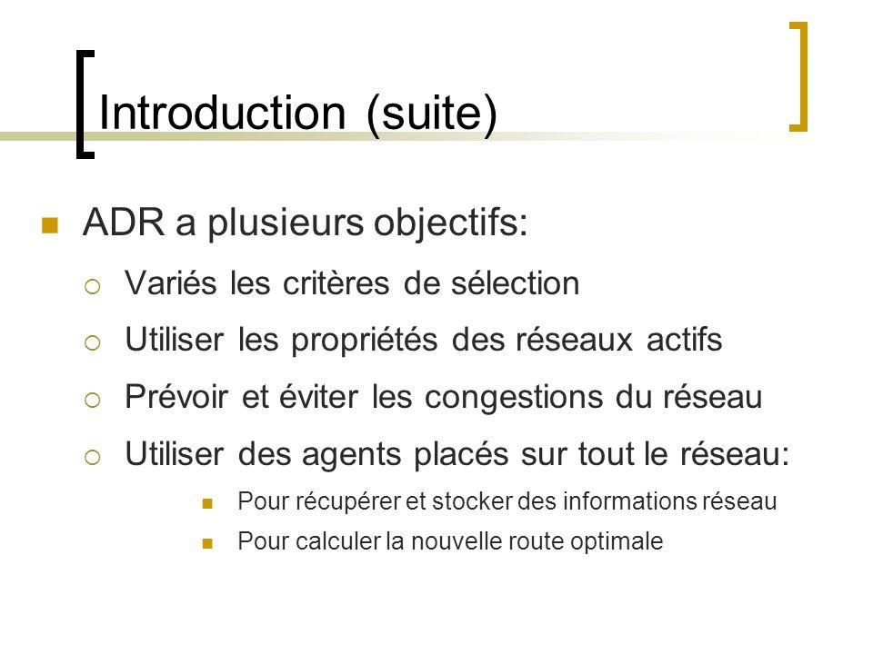 Introduction (suite) ADR a plusieurs objectifs: Variés les critères de sélection Utiliser les propriétés des réseaux actifs Prévoir et éviter les congestions du réseau Utiliser des agents placés sur tout le réseau: Pour récupérer et stocker des informations réseau Pour calculer la nouvelle route optimale