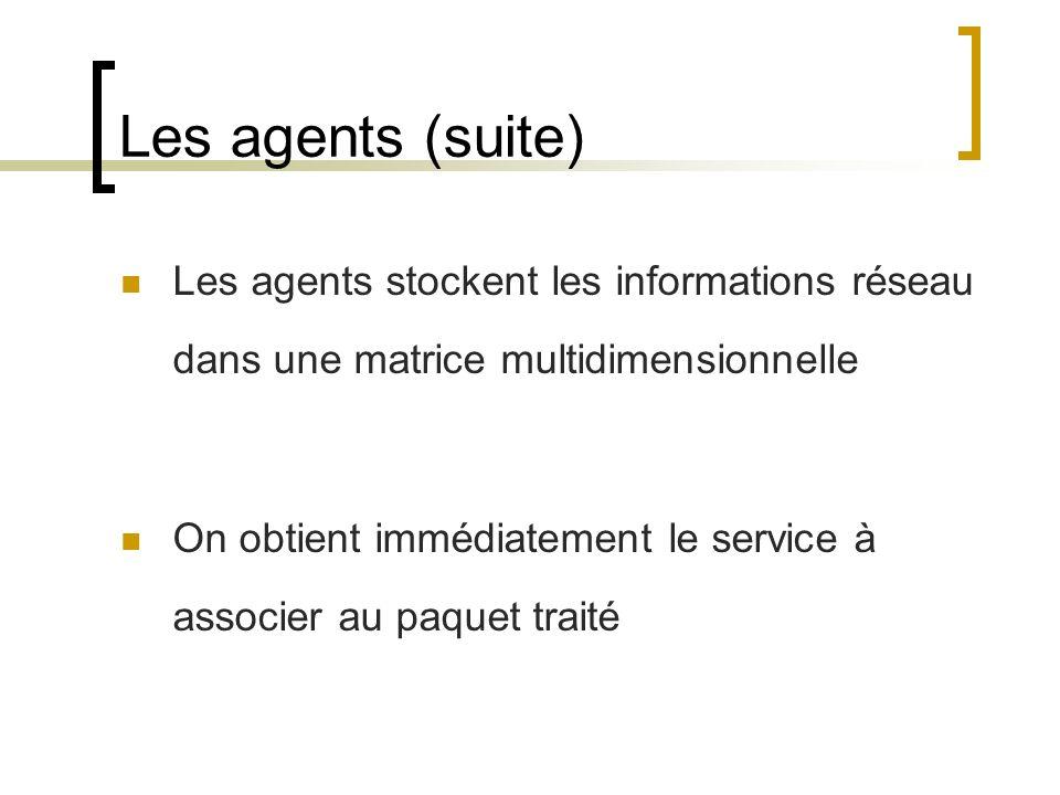 Les agents (suite) Les agents stockent les informations réseau dans une matrice multidimensionnelle On obtient immédiatement le service à associer au paquet traité