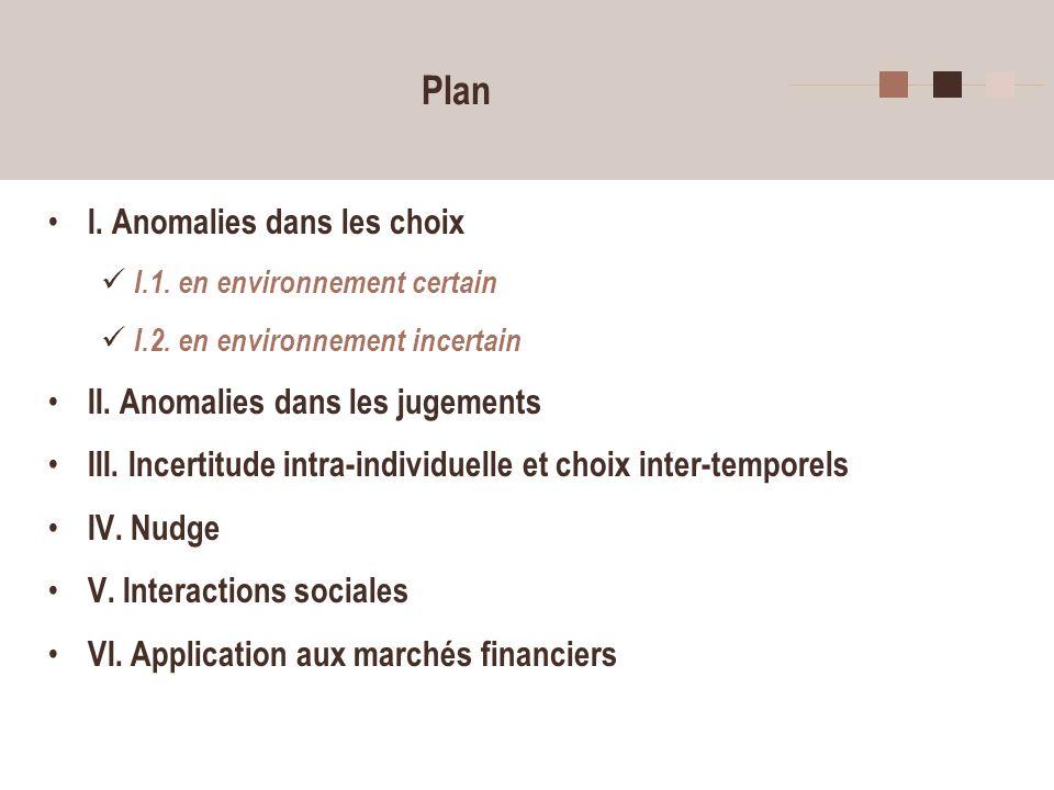 2 Plan I. Anomalies dans les choix I.1. en environnement certain I.2.