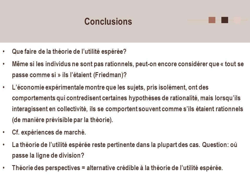 5 Conclusions Que faire de la théorie de lutilité espérée? Même si les individus ne sont pas rationnels, peut-on encore considérer que « tout se passe