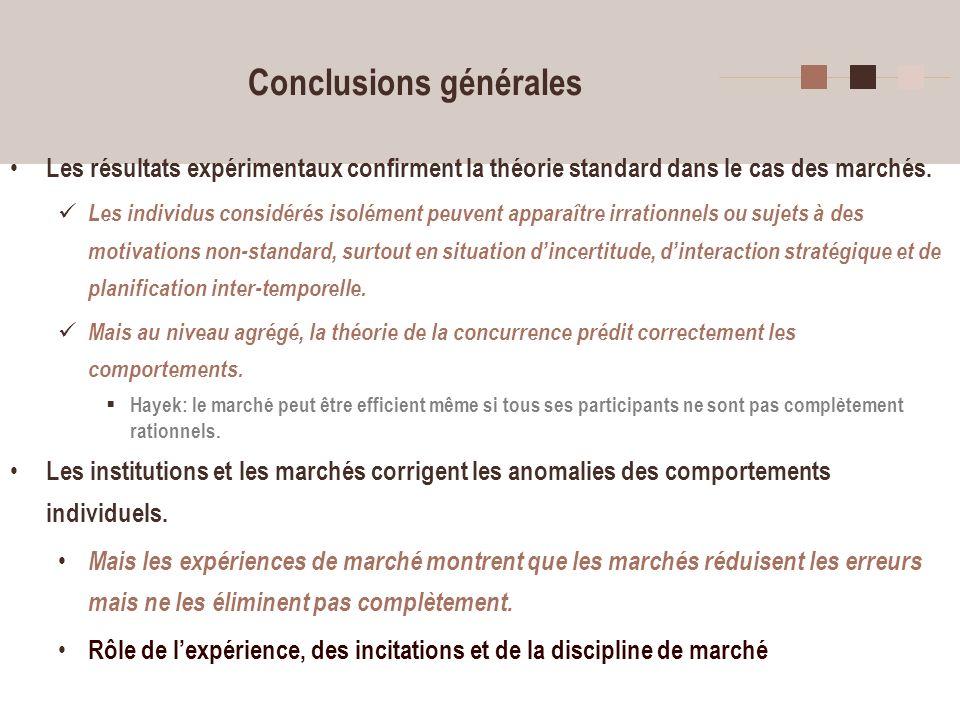 6 Conclusions générales Les résultats expérimentaux confirment la théorie standard dans le cas des marchés. Les individus considérés isolément peuvent