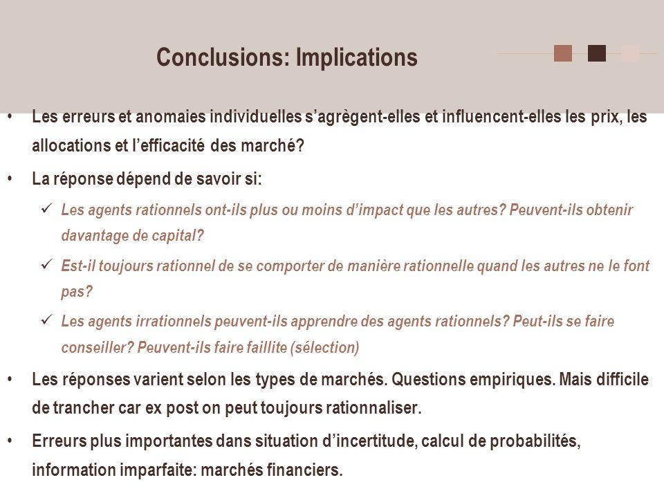 7 Conclusions: Implications Les erreurs et anomaies individuelles sagrègent-elles et influencent-elles les prix, les allocations et lefficacité des ma