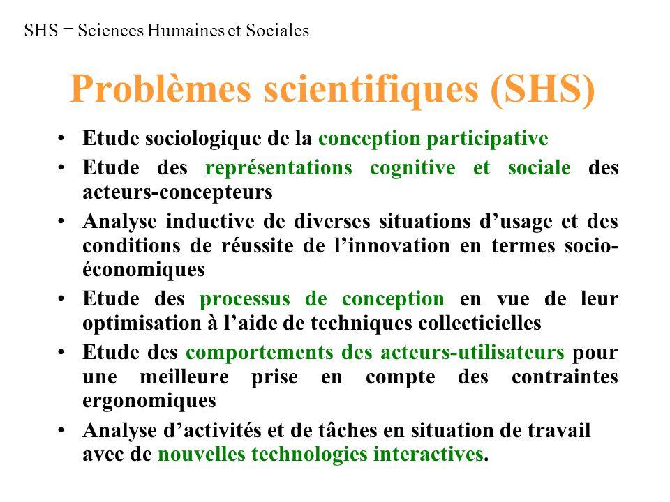 Problèmes scientifiques (SHS) Etude sociologique de la conception participative Etude des représentations cognitive et sociale des acteurs-concepteurs