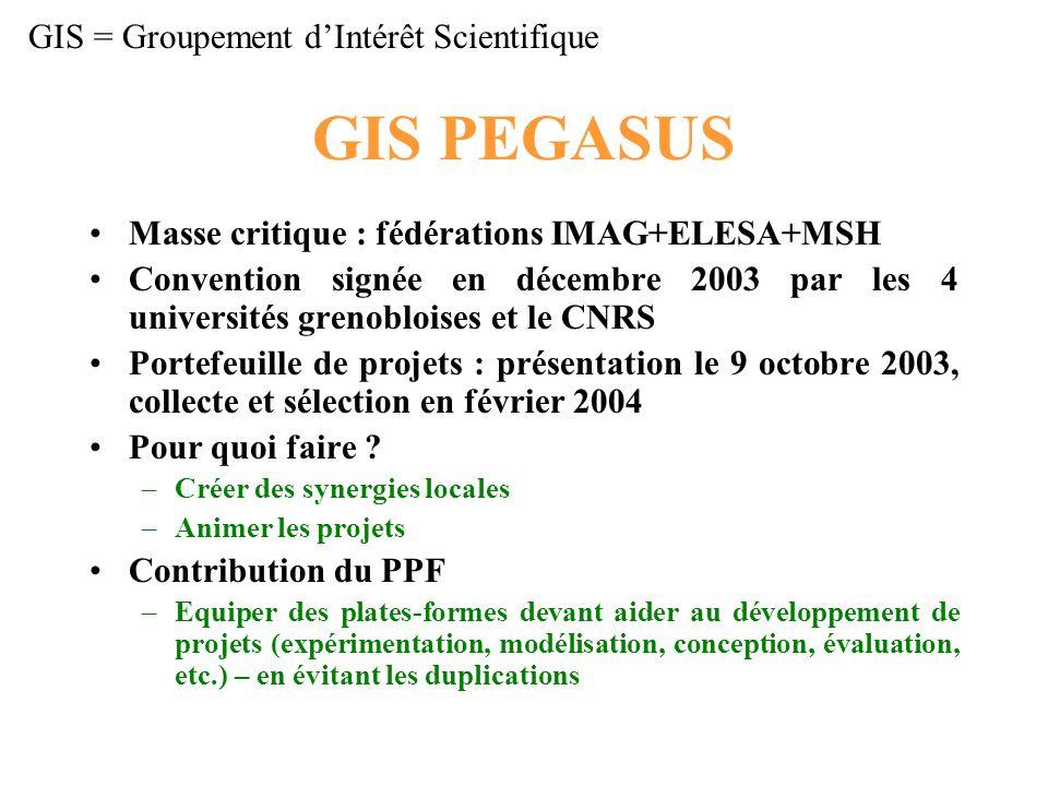 GIS PEGASUS Masse critique : fédérations IMAG+ELESA+MSH Convention signée en décembre 2003 par les 4 universités grenobloises et le CNRS Portefeuille