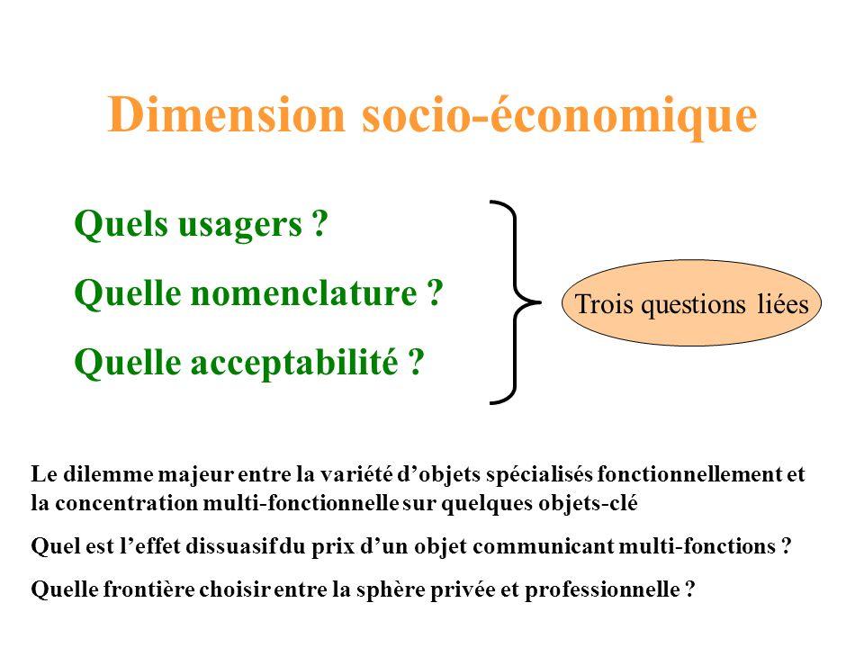 Dimension socio-économique Quels usagers ? Quelle nomenclature ? Quelle acceptabilité ? Trois questions liées Le dilemme majeur entre la variété dobje