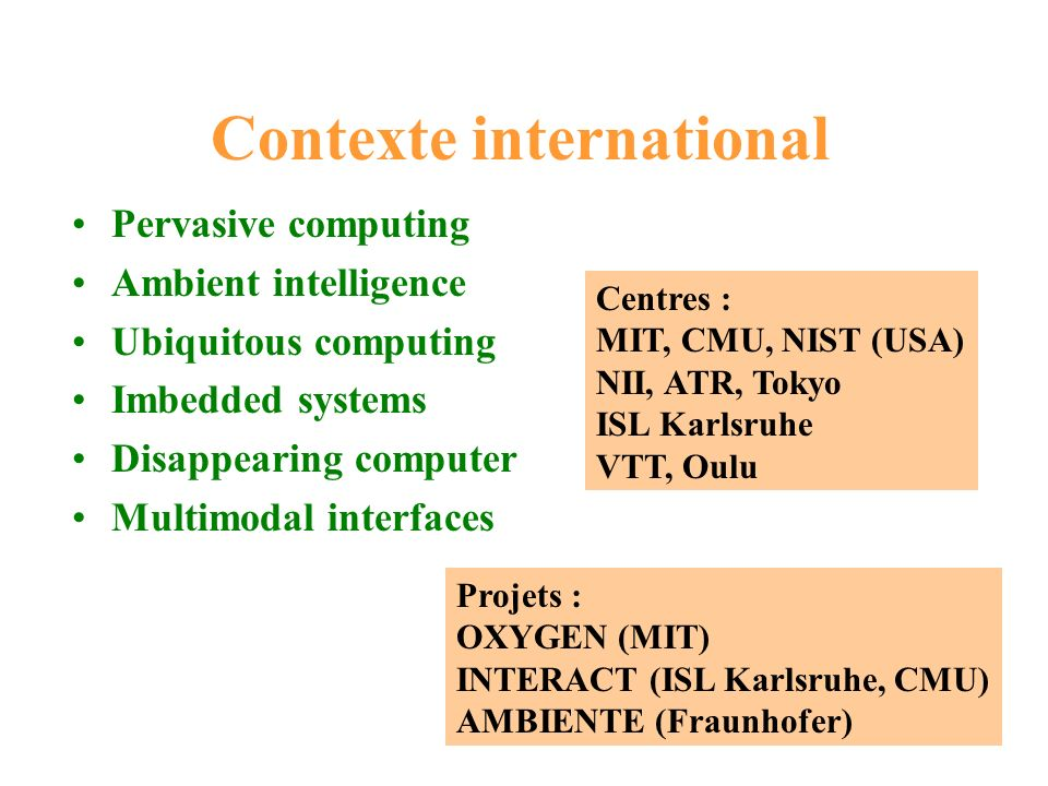 Contexte international Pervasive computing Ambient intelligence Ubiquitous computing Imbedded systems Disappearing computer Multimodal interfaces Proj