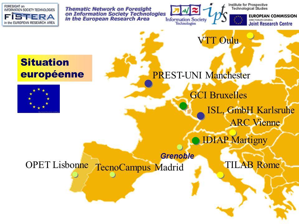 Grenoble Situation européenne ISL, GmbH Karlsruhe IDIAP Martigny VTT Oulu TILAB Rome PREST-UNI Manchester ARC Vienne GCI Bruxelles OPET Lisbonne TecnoCampus Madrid