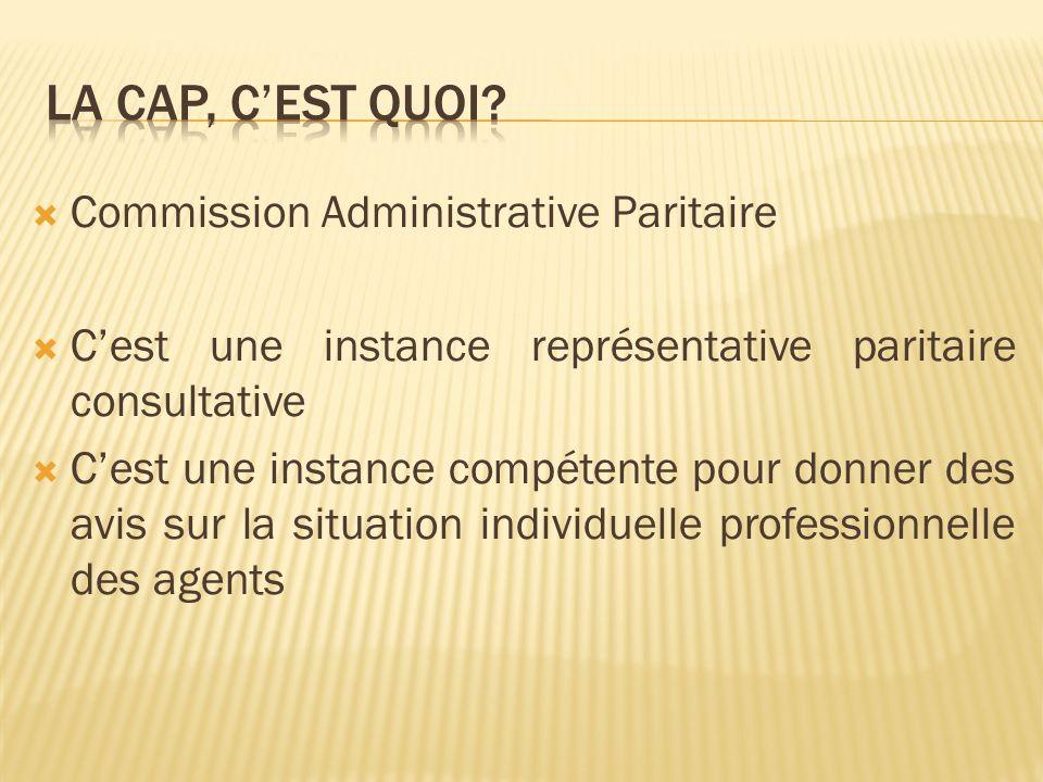 Les CAP se composent paritairement du même nombre de représentants de ladministration et de représentants du personnel élus pour toute la durée du mandat (4 ans) Les corps et grades des agents de la fonction publique hospitalière de catégories A, B et C relèvent de 9 Commissions Administratives Paritaires différentes