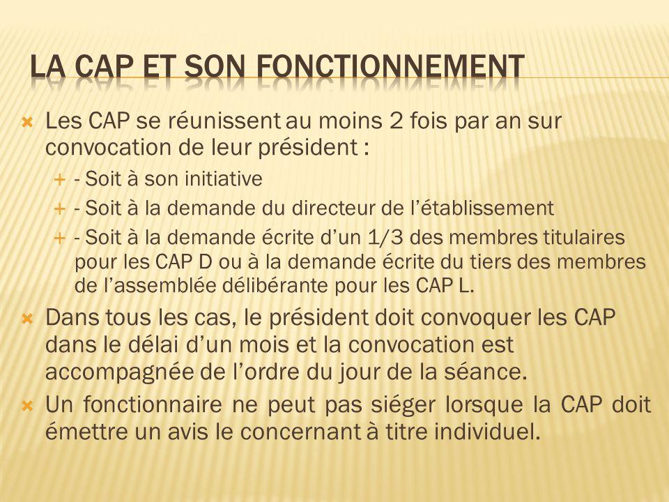 Le règlement intérieur de chaque CAP est soumis à lapprobation du directeur de létablissement qui en assure la gestion Les CAP locales sont présidées par le président de lassemblée délibérante ou son représentant.