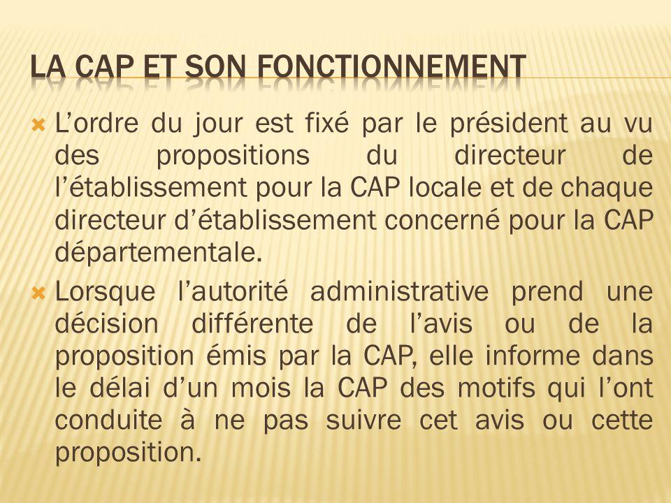 Le quorum des CAP est fixé à au moins 3/4 de leurs membres ayant voix délibérative qui doivent être présents à louverture de la séance.