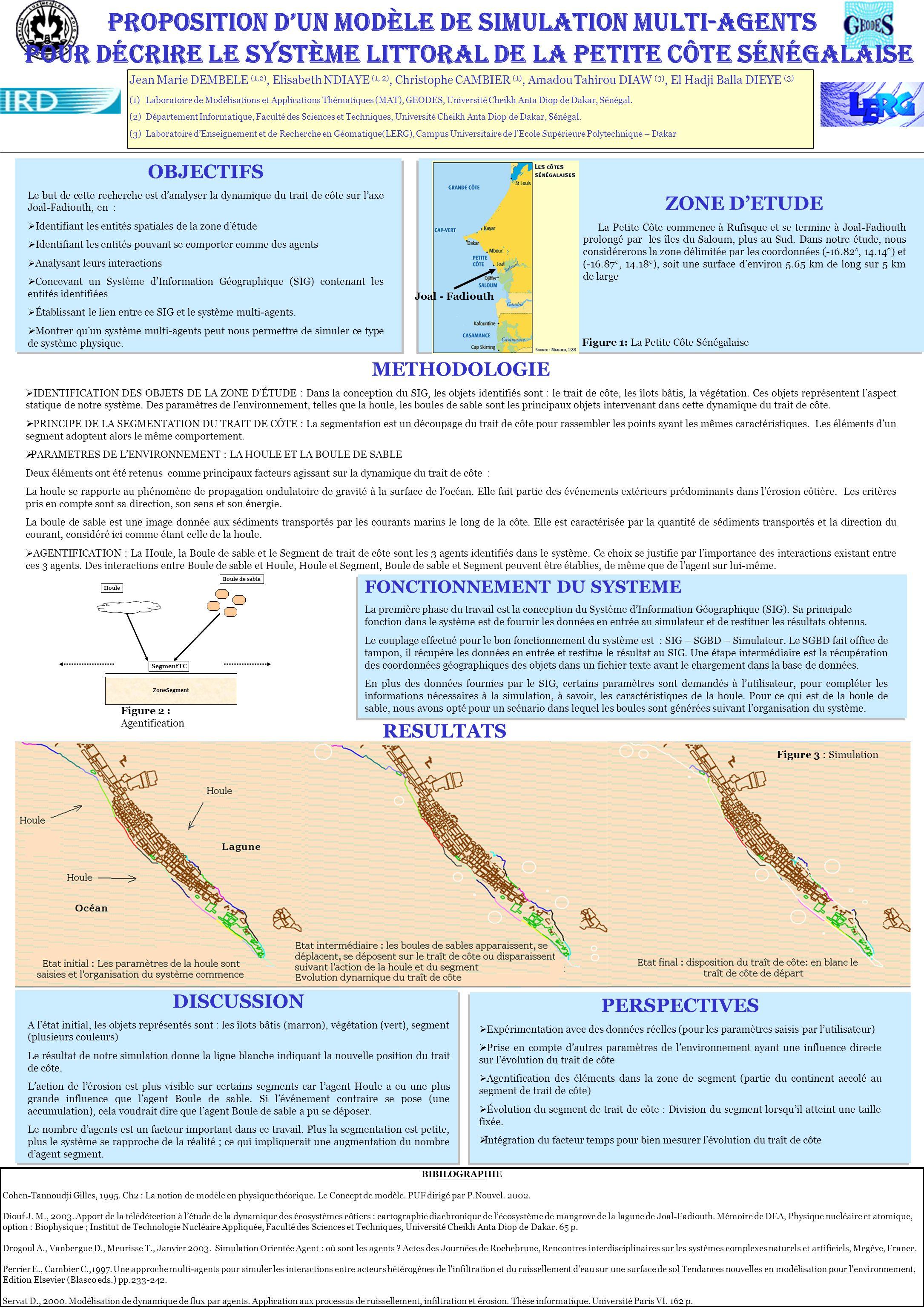 Proposition dun modèle de simulation multi-agentS pour décrire le système littoral de la Petite Côte sénégalaise Jean Marie DEMBELE (1,2), Elisabeth NDIAYE (1, 2), Christophe CAMBIER (1), Amadou Tahirou DIAW (3), El Hadji Balla DIEYE (3) (1) Laboratoire de Modélisations et Applications Thématiques (MAT), GEODES, Université Cheikh Anta Diop de Dakar, Sénégal.