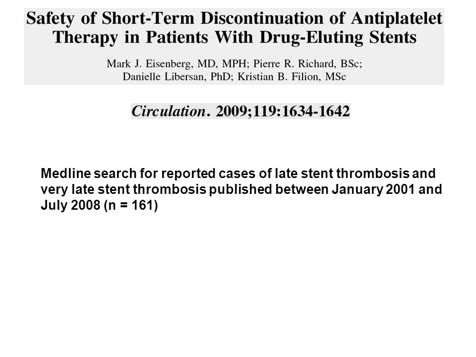 Medline search for reported cases of late stent thrombosis and very late stent thrombosis published between January 2001 and July 2008 (n = 161)