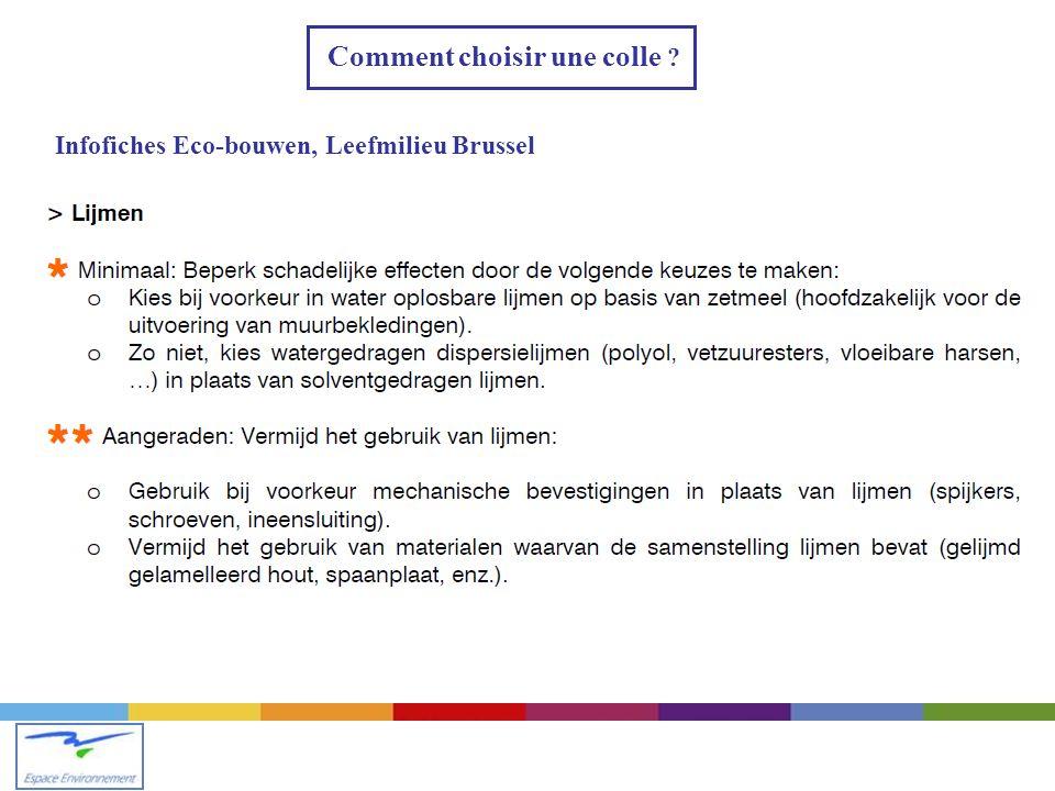 Comment choisir une colle ? Infofiches Eco-bouwen, Leefmilieu Brussel