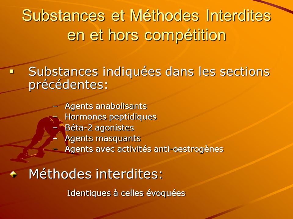 Substances et Méthodes Interdites en et hors compétition Substances indiquées dans les sections précédentes: Substances indiquées dans les sections pr