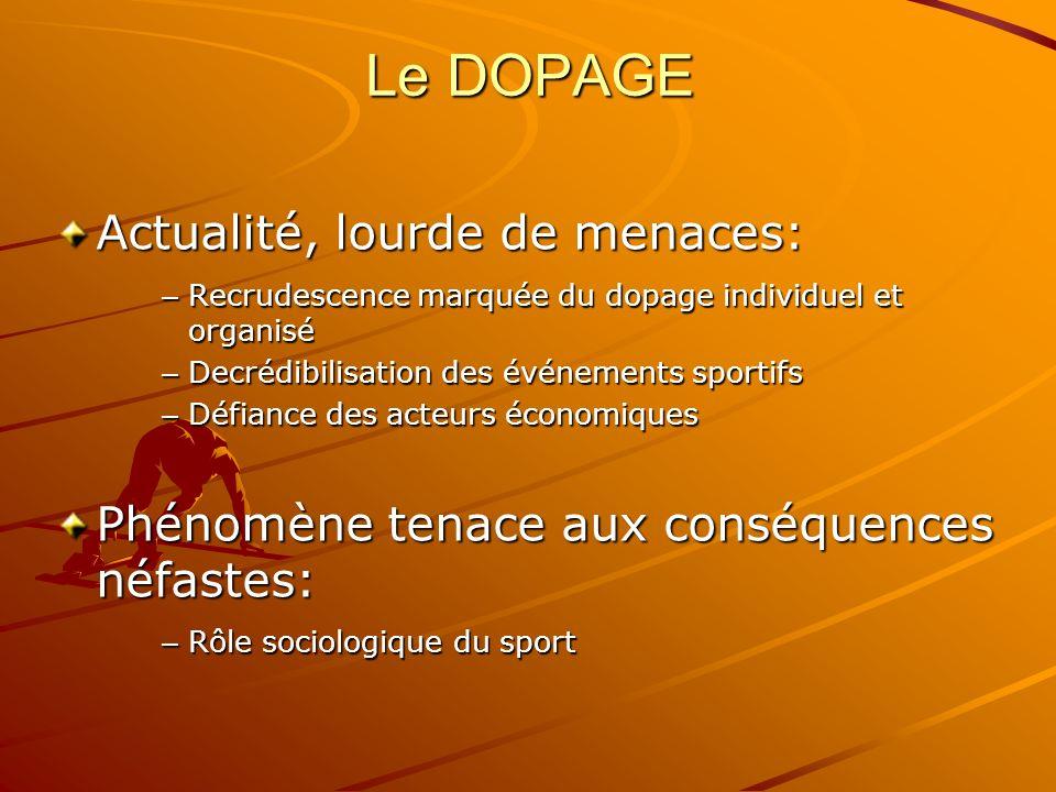 Le DOPAGE Doping…action… – Augmenter artificiellement son niveau de performance – Utiliser des produits ou des méthodes illicites Résolution et prévention de cette pratique: – Intérêt suscité par le sport – Valeurs véhiculées – Pérennité des engagements financiers des institutionnels et partenaires