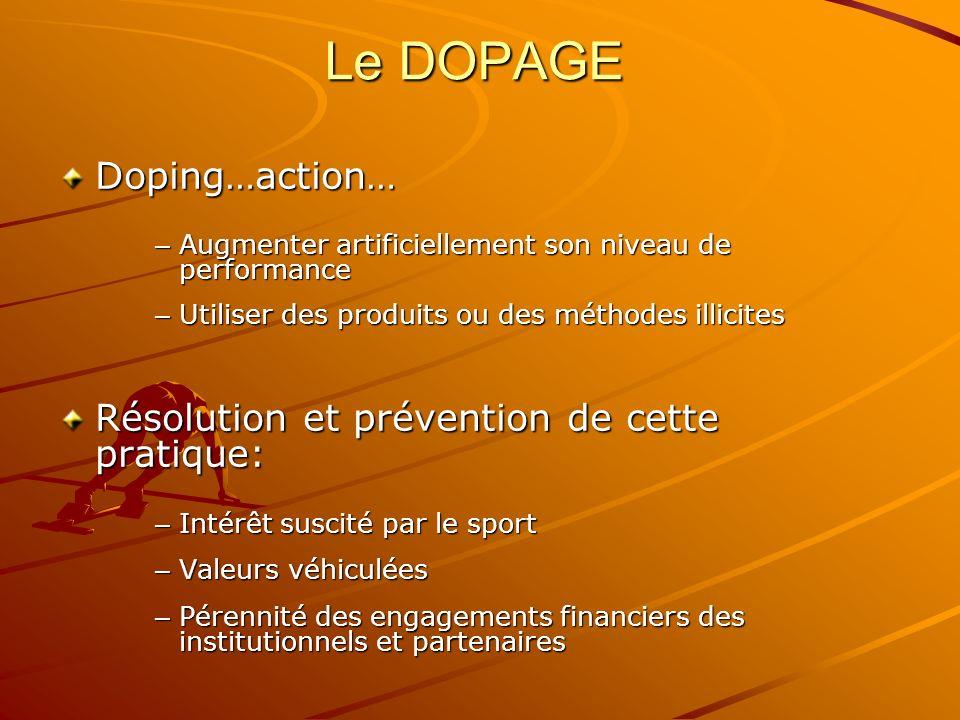 Le DOPAGE Doping…action… – Augmenter artificiellement son niveau de performance – Utiliser des produits ou des méthodes illicites Résolution et préven