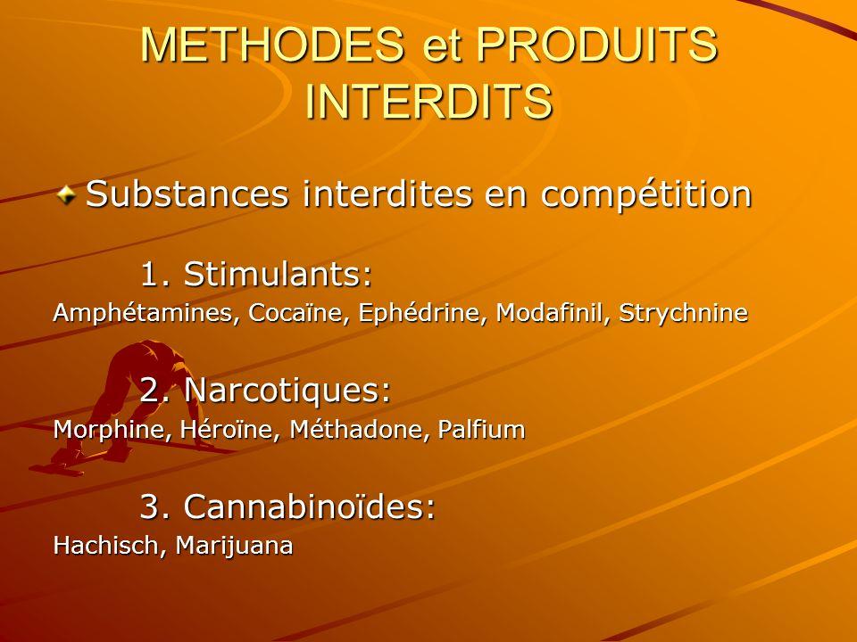 METHODES et PRODUITS INTERDITS Substances interdites en compétition 1. Stimulants: Amphétamines, Cocaïne, Ephédrine, Modafinil, Strychnine 2. Narcotiq