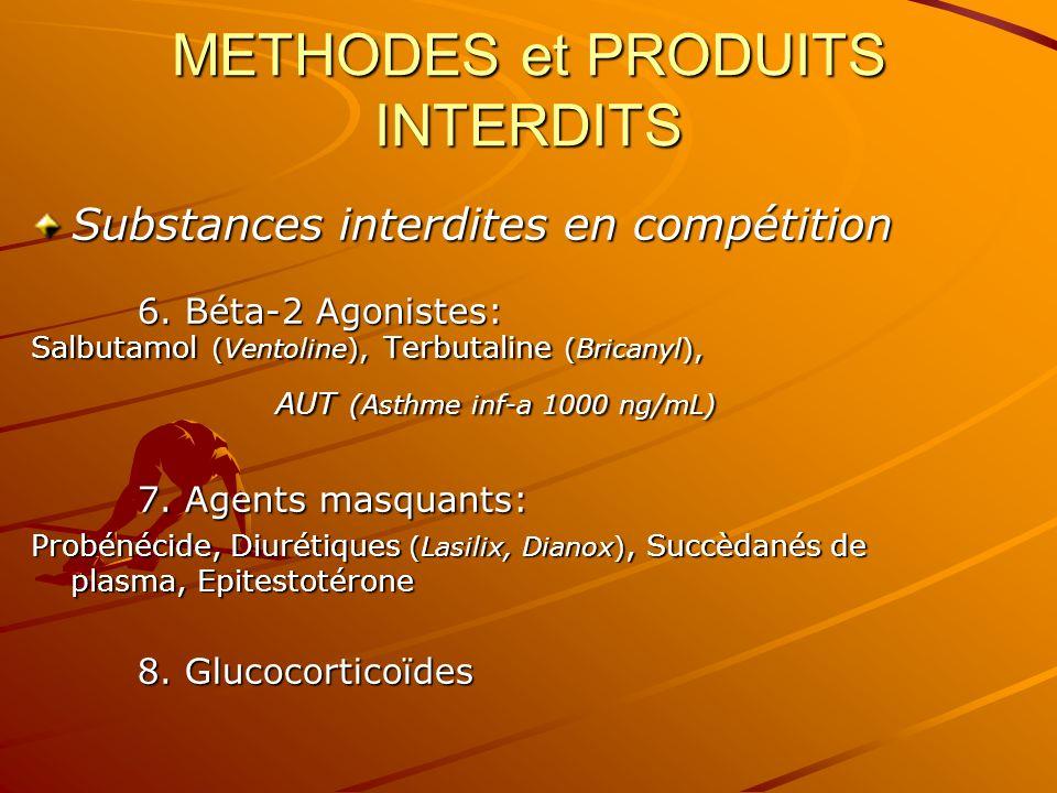 METHODES et PRODUITS INTERDITS Substances interdites en compétition 6. Béta-2 Agonistes: Salbutamol (Ventoline), Terbutaline (Bricanyl), AUT (Asthme i