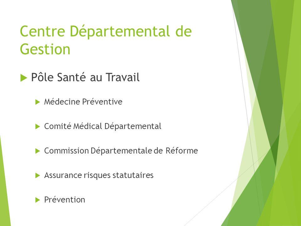 Centre Départemental de Gestion Pôle Santé au Travail Médecine Préventive Comité Médical Départemental Commission Départementale de Réforme Assurance