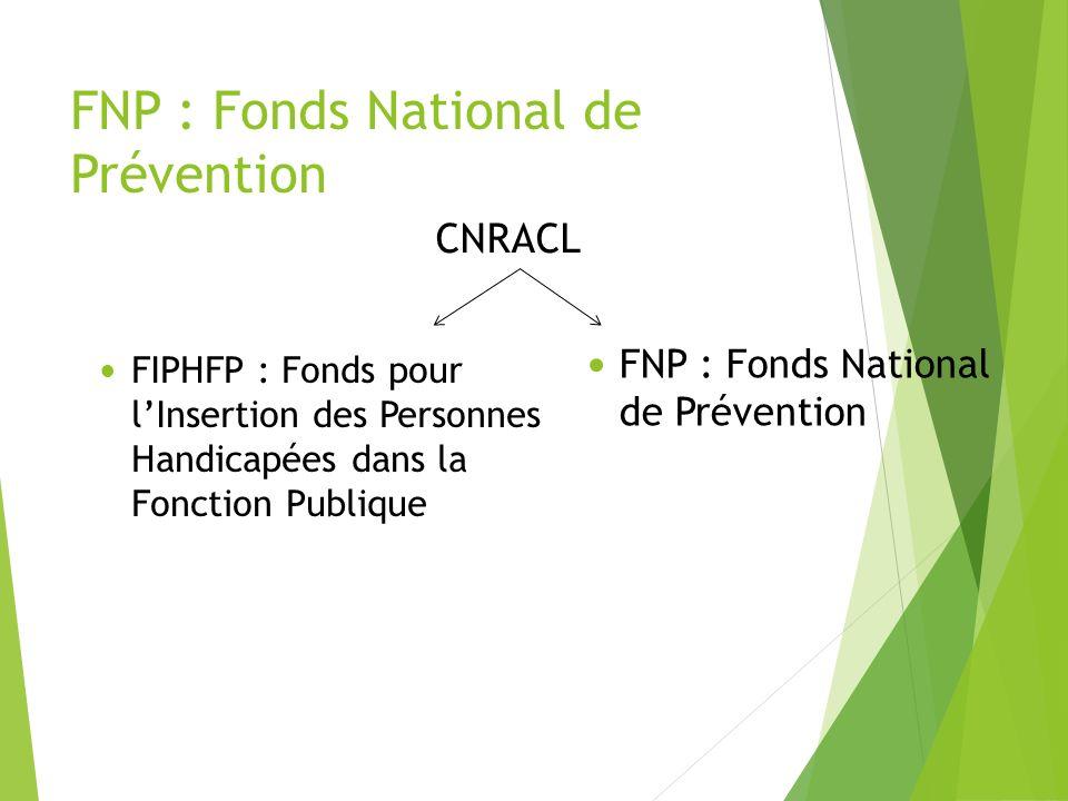 FNP : Fonds National de Prévention CNRACL FIPHFP : Fonds pour lInsertion des Personnes Handicapées dans la Fonction Publique FNP : Fonds National de P