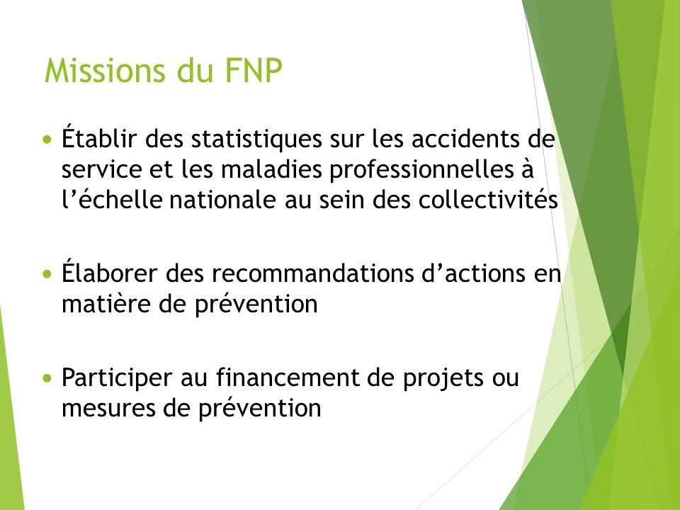 Missions du FNP Établir des statistiques sur les accidents de service et les maladies professionnelles à léchelle nationale au sein des collectivités