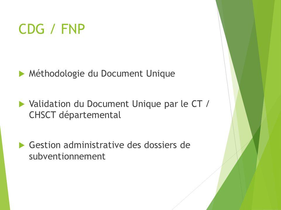 CDG / FNP Méthodologie du Document Unique Validation du Document Unique par le CT / CHSCT départemental Gestion administrative des dossiers de subvent