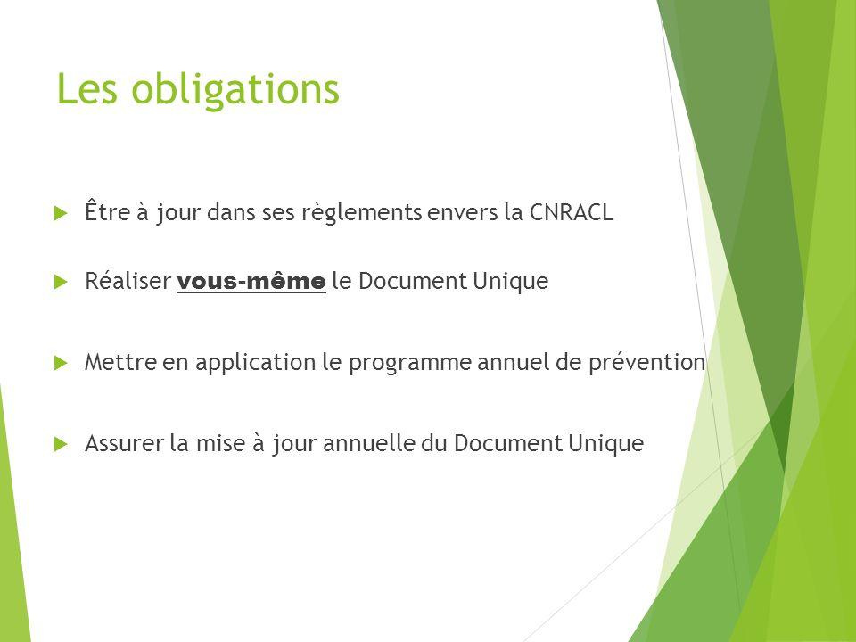 Les obligations Être à jour dans ses règlements envers la CNRACL Réaliser vous-même le Document Unique Mettre en application le programme annuel de pr