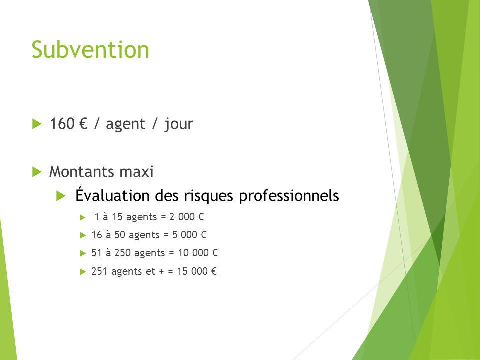 Subvention 160 / agent / jour Montants maxi Évaluation des risques professionnels 1 à 15 agents = 2 000 16 à 50 agents = 5 000 51 à 250 agents = 10 00